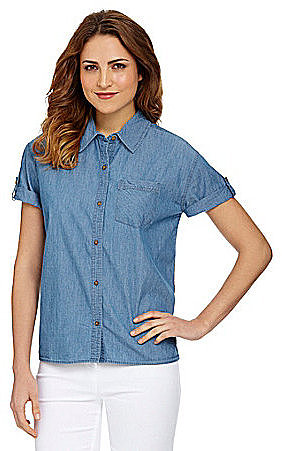 Westbound Chambray Short-Sleeve Hi-Low Top