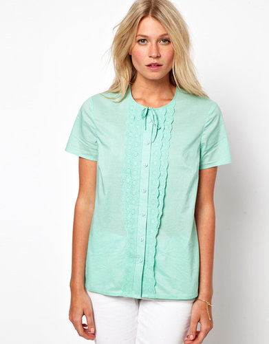 ASOS Blouse With Broderie Placket And Tie Neck