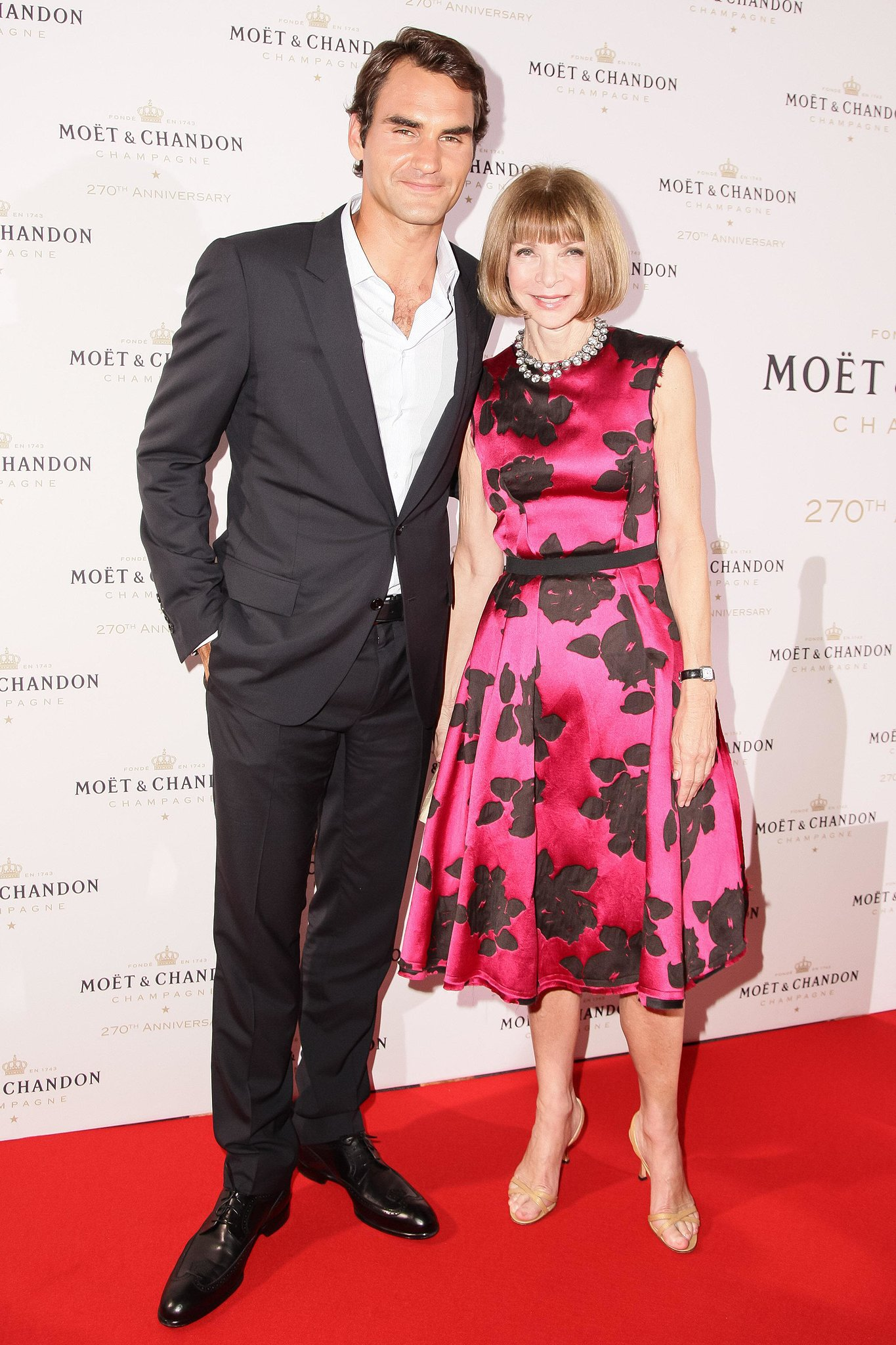Roger Federer and Anna Wintour made the red carpet rounds to fete Moët & Chandon's anniversary.