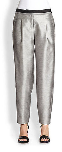 Prabal Gurung Metallic Silk & Cotton Tuxedo Pants