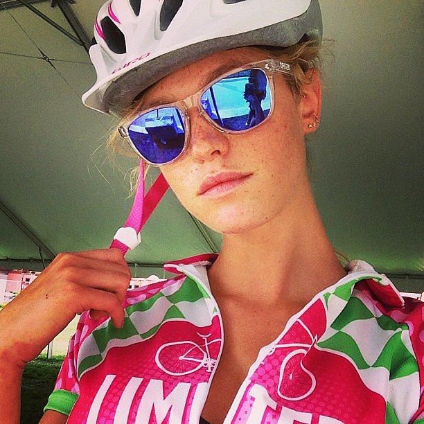 Erin Heatherton biked for a good cause. Source: Instagram user erinheathertonlegit