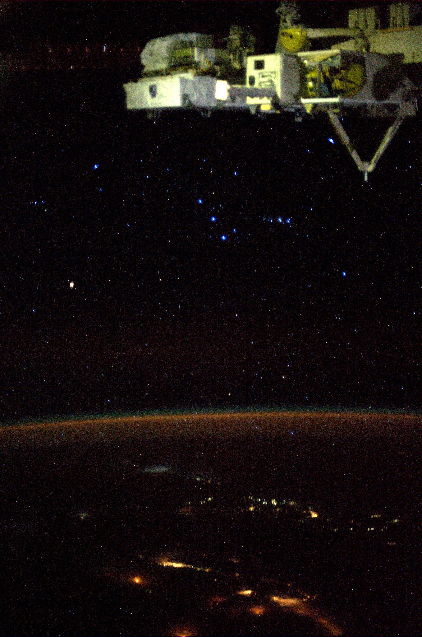 """Orion. Taken August 15, 2013. KN from space."" Source: Pinterest user Karen Nyberg"