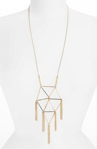Topshop Tube Tassel Necklace Gold