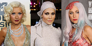 #FBF: Gaga's Steak Hat, Miley's Buns, and More Iconic VMAs Looks