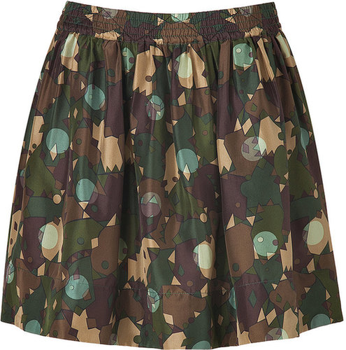 Marc by Marc Jacobs Desert Palm Multi Silk Nata Camouflage Skirt