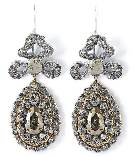 Vivienne Westwood Georgian Pyrite And Gold Drop Earrings