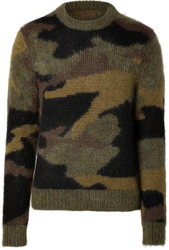 Michael Kors Mohair-Wool Blend Camouflage Pullover in Military