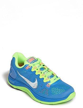 Nike 'LunarGlide 5' Running Shoe (Women) Blue/ White/ Lime/ Pink 8 M
