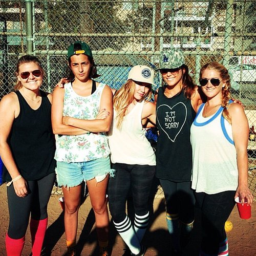Hilary Duff kept things fit —and fun! —with her ladies over a game of baseball.