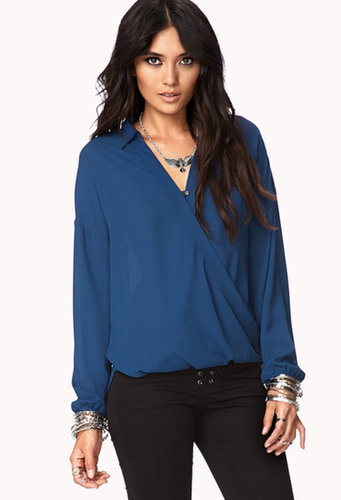 FOREVER 21 Twisted Hem Georgette Shirt