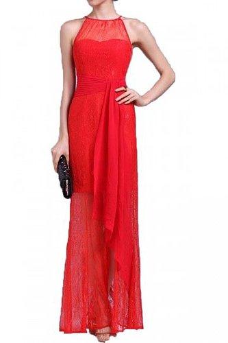 BCBG LACE BELT HALTER SLIM LONG EVENING DRESS RED