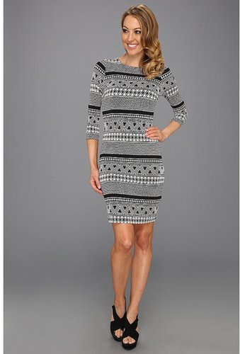 Karen Kane - Geo Contrast Dress (Print) - Apparel