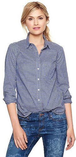 Shrunken boyfriend gingham shirt