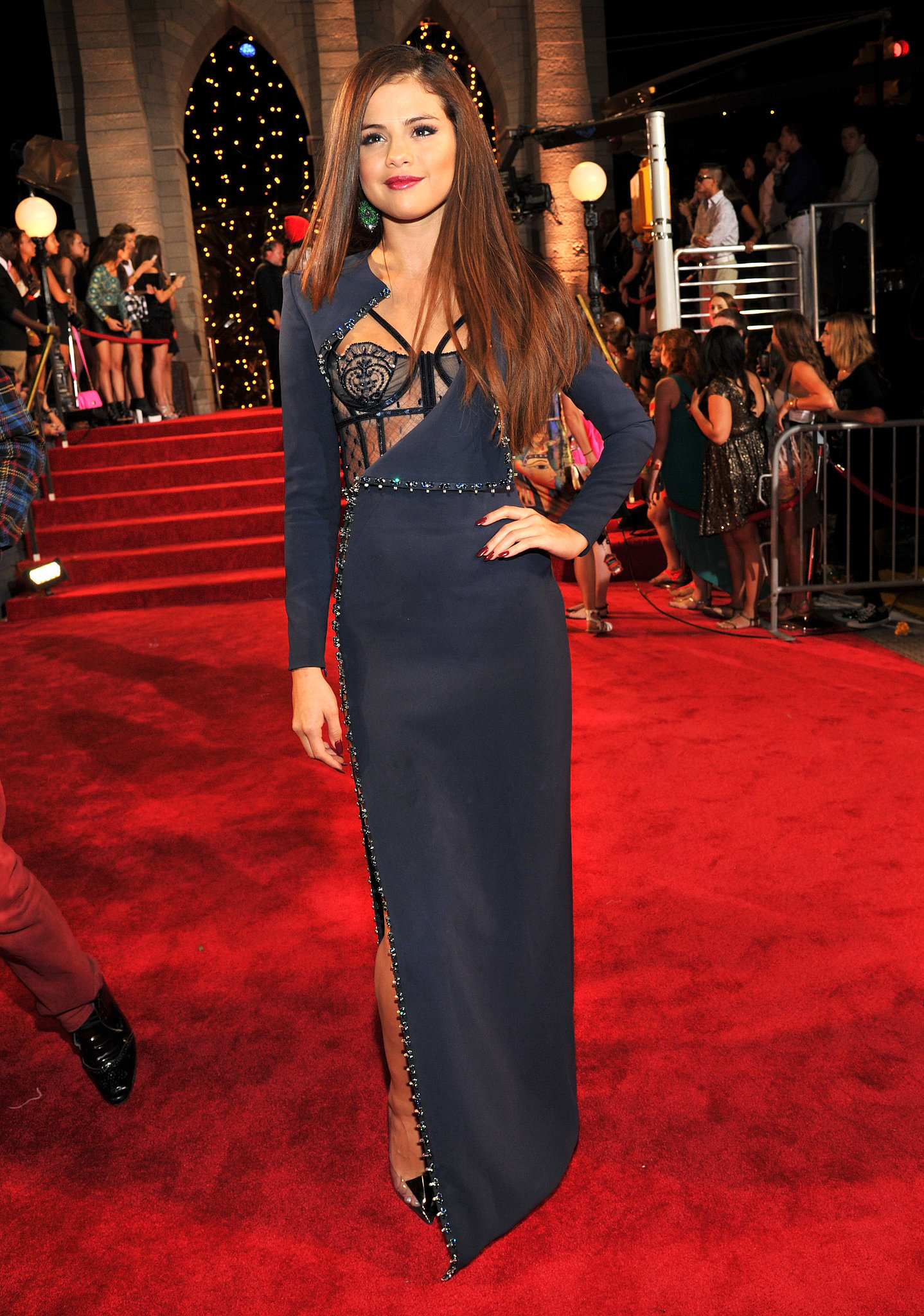 The latest in Selena Gomez's continuing love affair with Versace was the Atelier Versace gown — along with Lorraine Schwartz earrings — she chose for the 2013 MTV Video Music Awards.