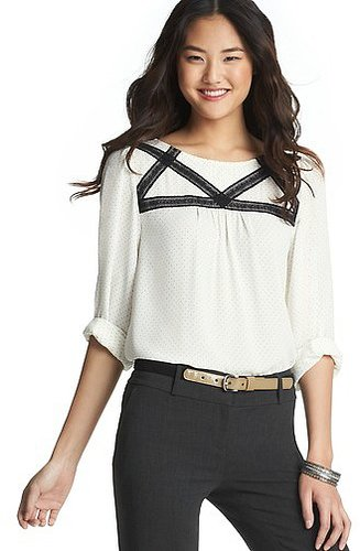 Tall Pin Dot Print Lace Trim Blouse