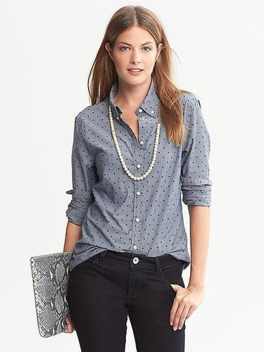 Soft-Wash Dot Chambray Button-Down Shirt