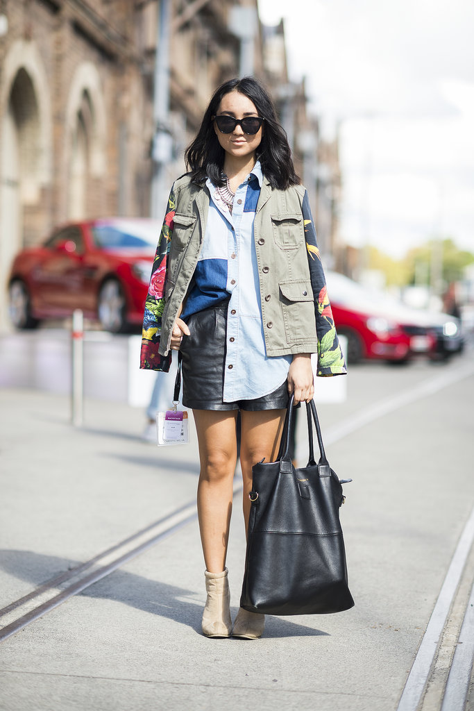 Mix and match denim, leather, and your favorite anorak for a street-style-worthy ensemble.  Source: Le 21ème | Adam Katz Sinding
