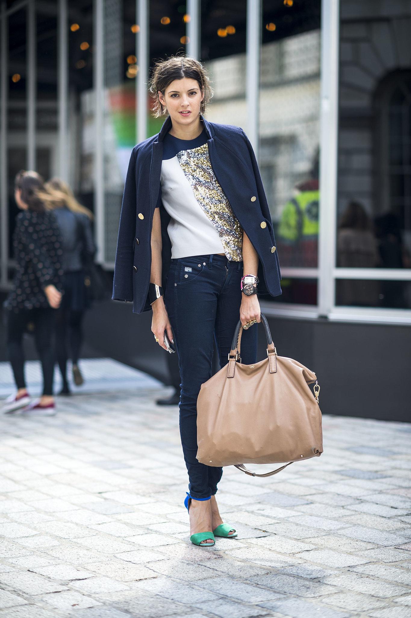 Denim downplays the glitz on her tee — the skinny silhouette looks even better with sky-high heels. Source: Le 21ème   Adam Katz Sinding