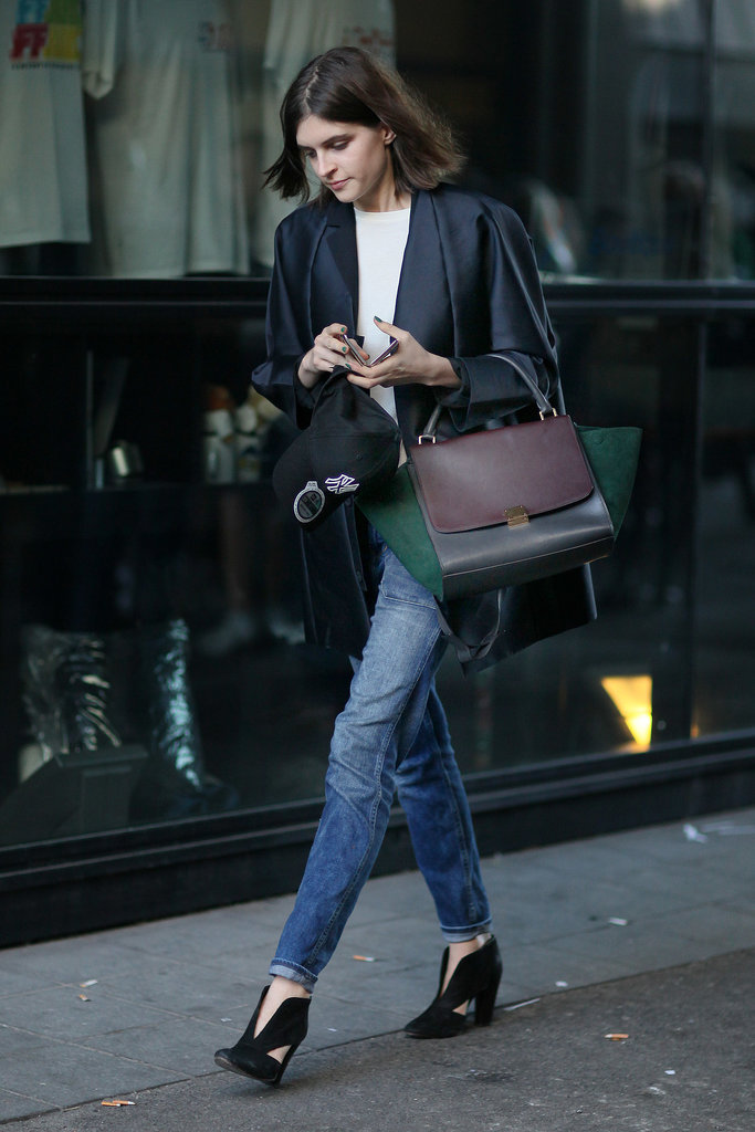 Nothing makes your jeans look more sophisticated than some slick outerwear and a Céline tote in hand.