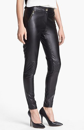 Vince Camuto Quilted Detail Faux Leather Pants (Regular & Petite) Rich Black 4P