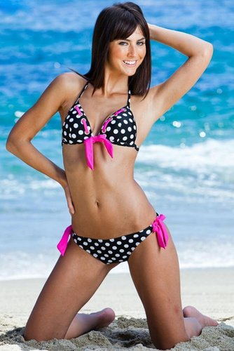 Polka Dot Embellished Bikini Set - Swimsuit