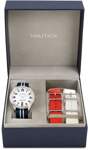 Nautica Watch Set, Unisex Interchangeable Red, White and Blue Nylon Straps 40mm N09920G