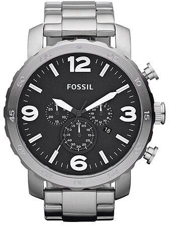 Fossil 'Nate' Chronograph Bracelet Watch, 50mm Silver/ Black