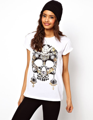 ASOS T-Shirt with Jewelled Skull and Earrings