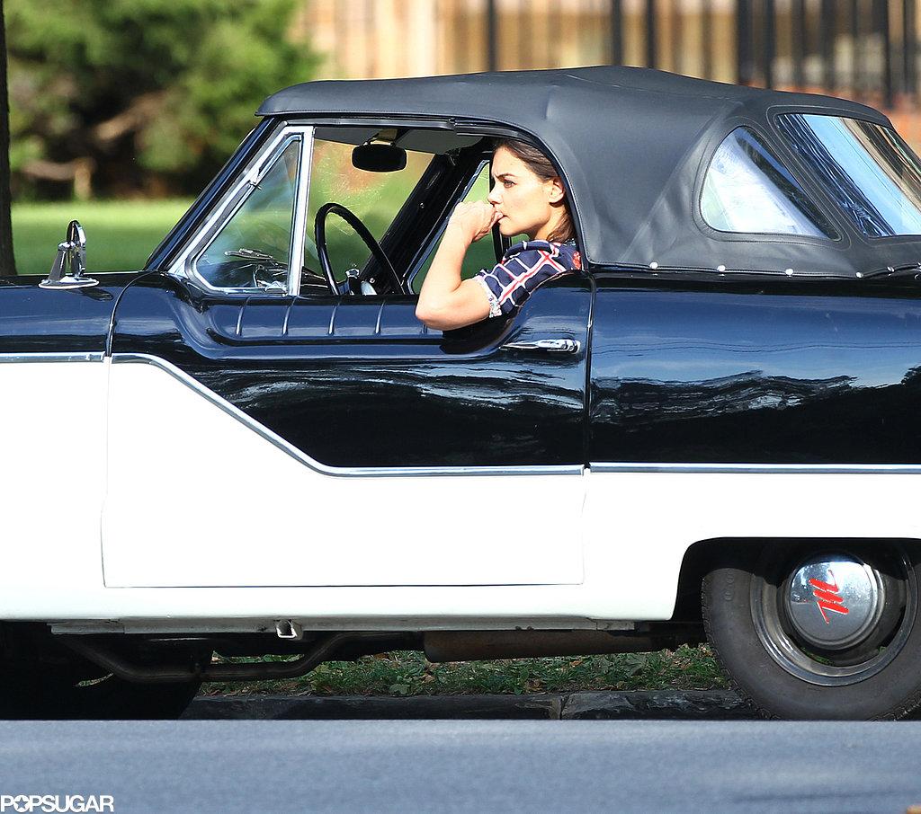 Katie Holmes filmed scenes in a vintage car.