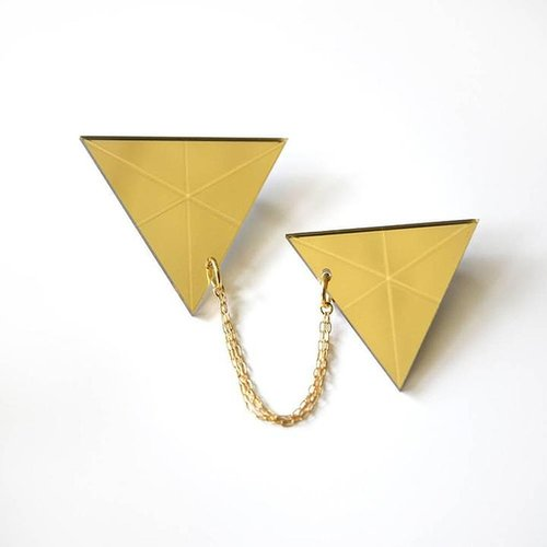 Double Triangle Brooch Gold Mirror