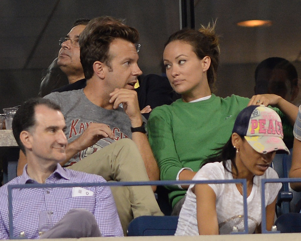 Jason Sudeikis and Olivia Wilde chatted during a match.