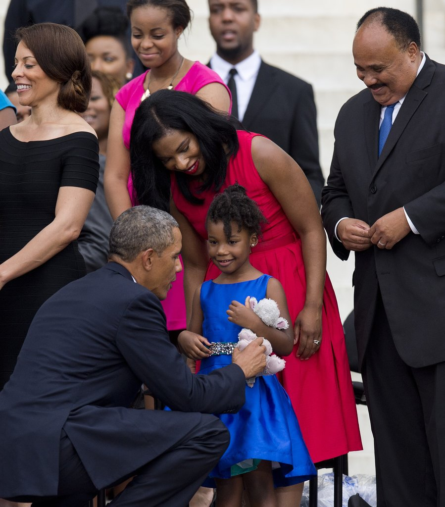 President Obama and Yolanda King shared a sweet moment.