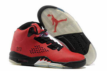 Black and Fire Red Women Air Jordan 5 Basketball Sneaker