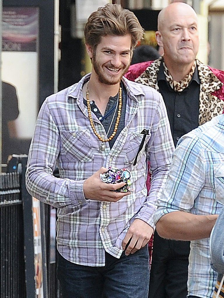 Andrew Garfield smiled while out in London.