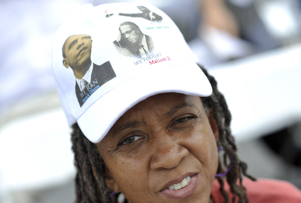 One woman wore a hat that featured both Martin Luther King Jr. and President Obama.