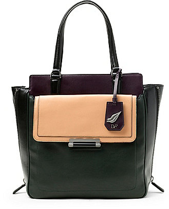 Highline Colorblock Leather Tote In Bottle Green/ Prune/ Nude