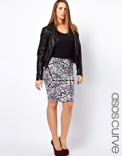 ASOS CURVE Pencil Skirt in Empire Print