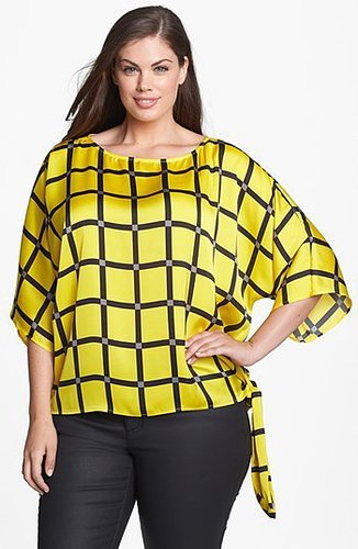 MICHAEL Michael Kors Print Side Tie Blouse (Plus Size) Golden Yellow 2X