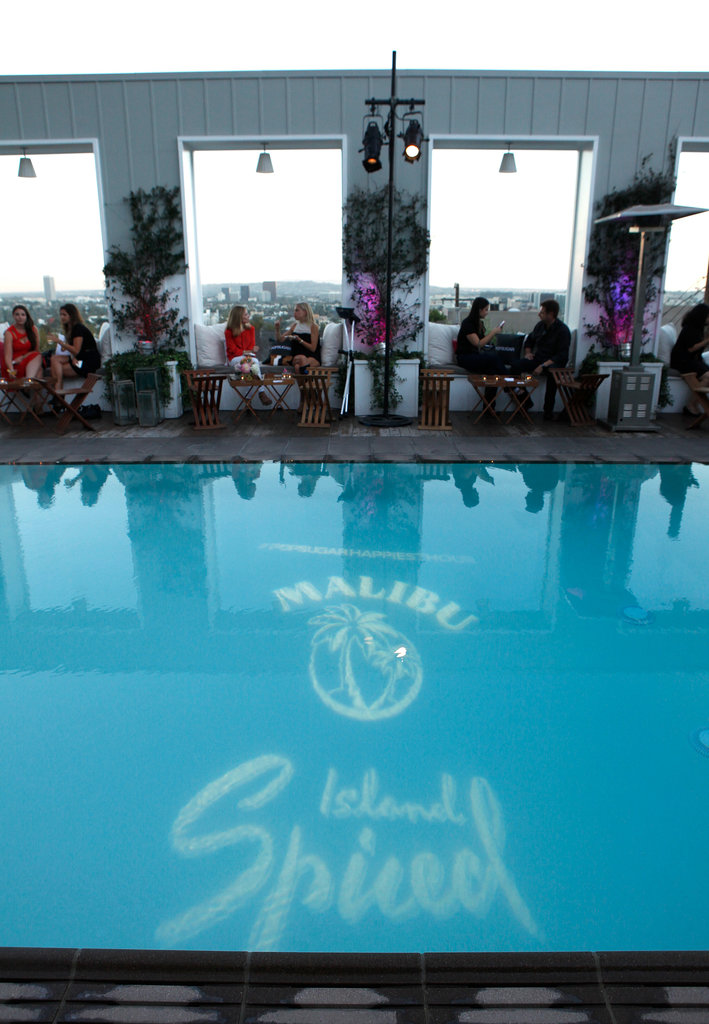 Guests mingled at the poolside bash.