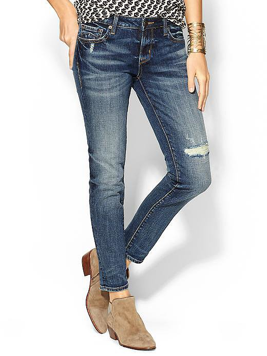 "Just when I think I have enough jeans to last me a lifetime, I find a pair that makes me reconsider! Distressed but not too shredded, the perfect fabric weight for transitional weather, and the right length on my 34-inch inseam legs — I may indeed have to find shelf space for the D-ID ""Florence"" ankle skinny jeans ($178). — MLG"