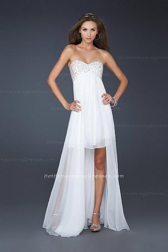 White Strapless High Low Chiffon Dress Homecoming Cheap