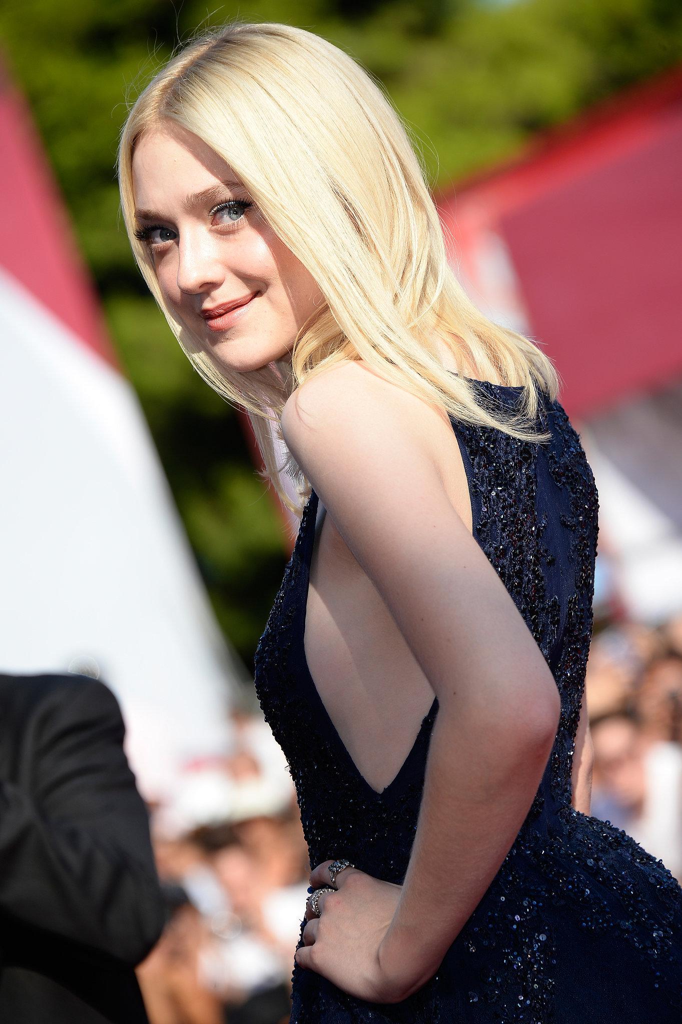 Dakota Fanning struck an over-the-shoulder pose at the Venice Film Festival.