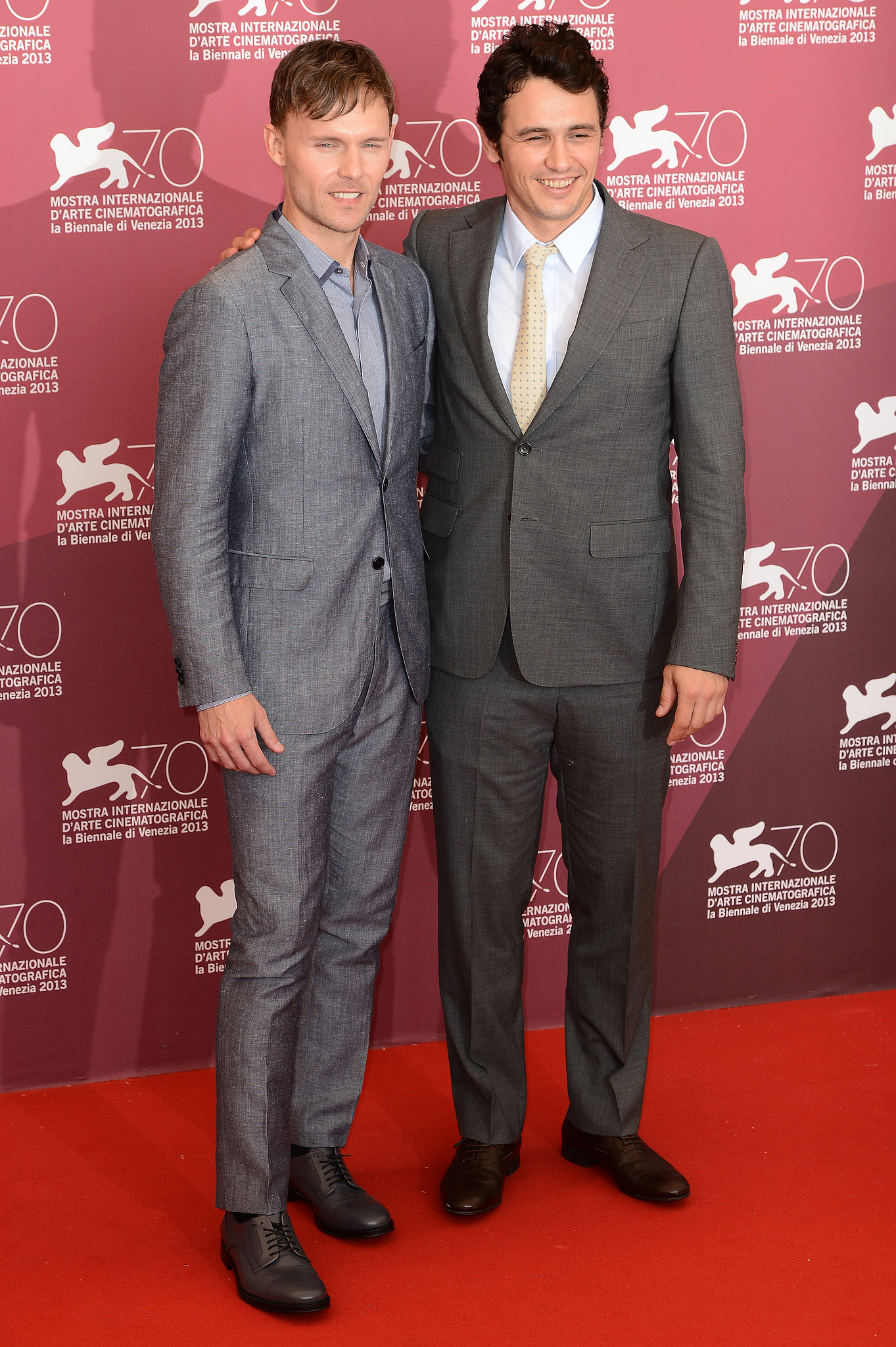 James Franco and actor Scott Haze posed together for the Child of God photocall at the Venice Film Festival.
