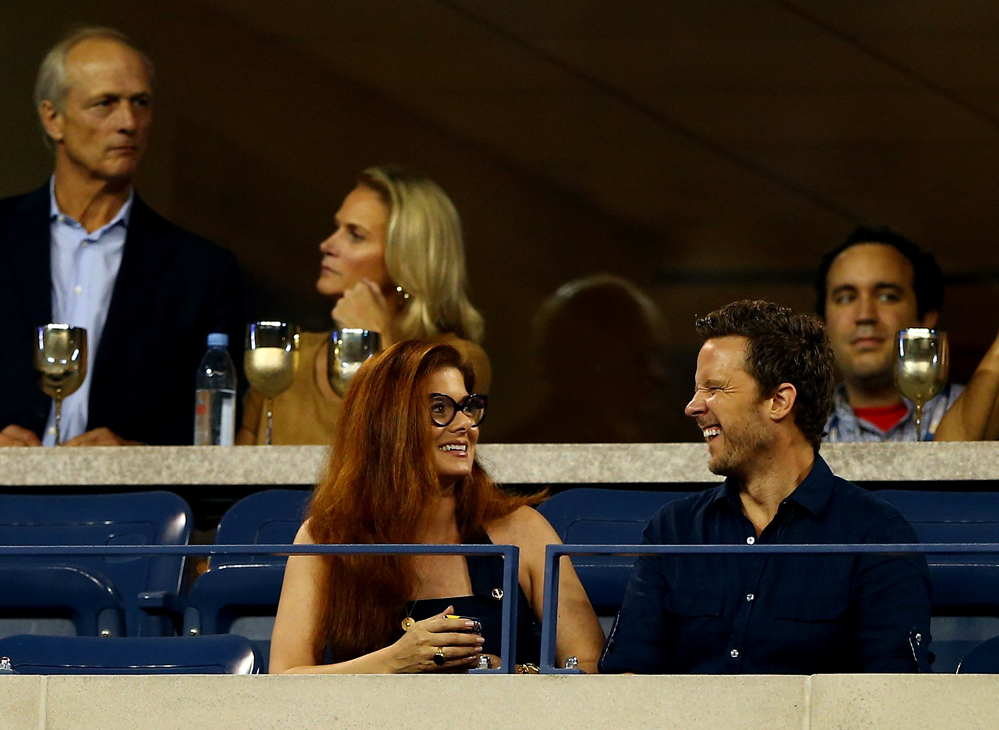 Debra Messing watched the US Open with her former Smash costar and real-life boyfriend, Will Chase.