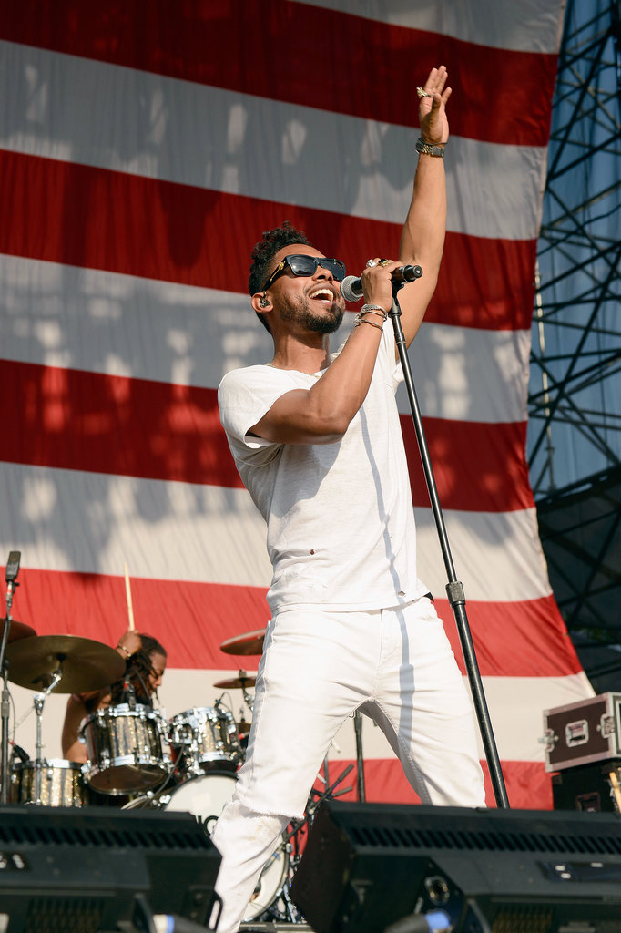 Miguel sang on stage at the Made in America Festival.