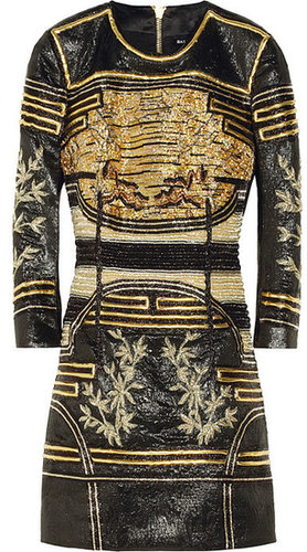 Balmain Embellished metallic jacquard mini dress