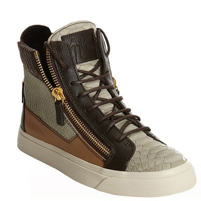 GIUSEPPE ZANOTTI GRAY EMBOSSED HIGH TOP ZIP SNEAKER