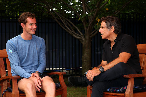 Andy Murray cracked up while talking to Ben Stiller at the US Open.