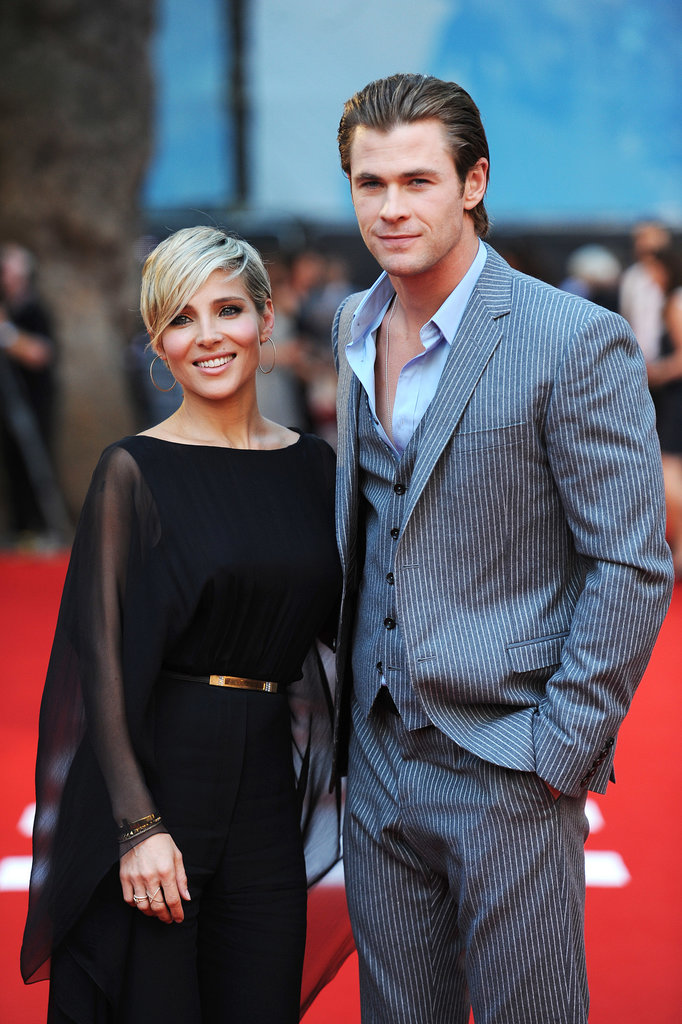 Chris Hemsworth posed with his wife, Elsa Pataky, on the red carpet.