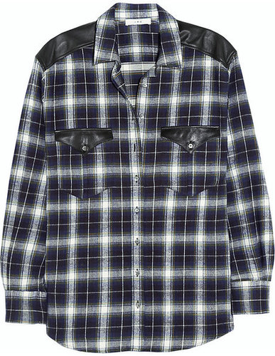 IRO Britton leather-paneled cotton-flannel shirt